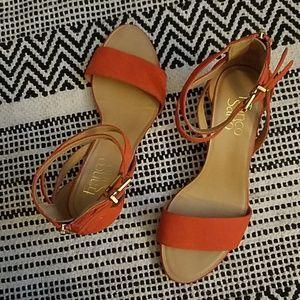 Franco Sarto red-orange wedges